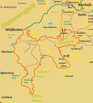 (2-7) Die Wildfleckener Südrhöntour Karte